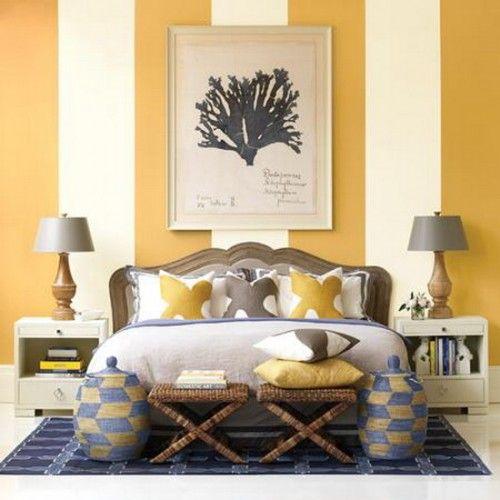 Ideas para pintar la pared del cabecero de la cama a rayas.