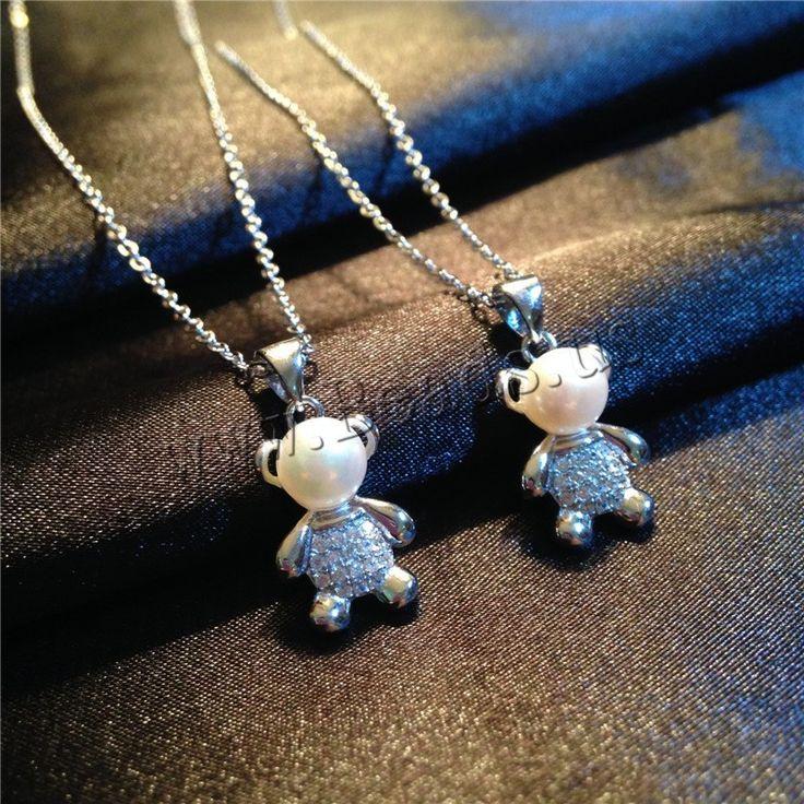 Colgantes de latón de imitación de diamante, metal, con Perlas de plástico ABS, Oso, chapado en plata real, con diamantes de imitación, libre de níquel, plomo & cadmio, 10x22mm, agujero:aproximado 2-3mm, Vendido por UD,Abalorios de joyería por mayor de China