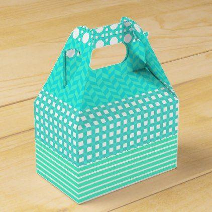 #cute - #Pastel Turquoise Pattern Mix Favor Box