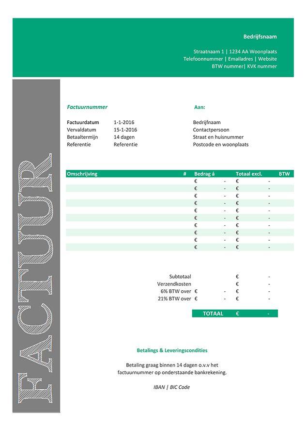 Deze factuur template / Excel sjabloon is gratis te downloaden via