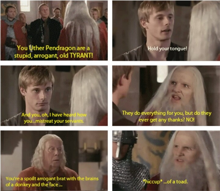 """Gaius' face...he's like """"Oh here we go Merlin, you just couldn't resist, could you?"""""""