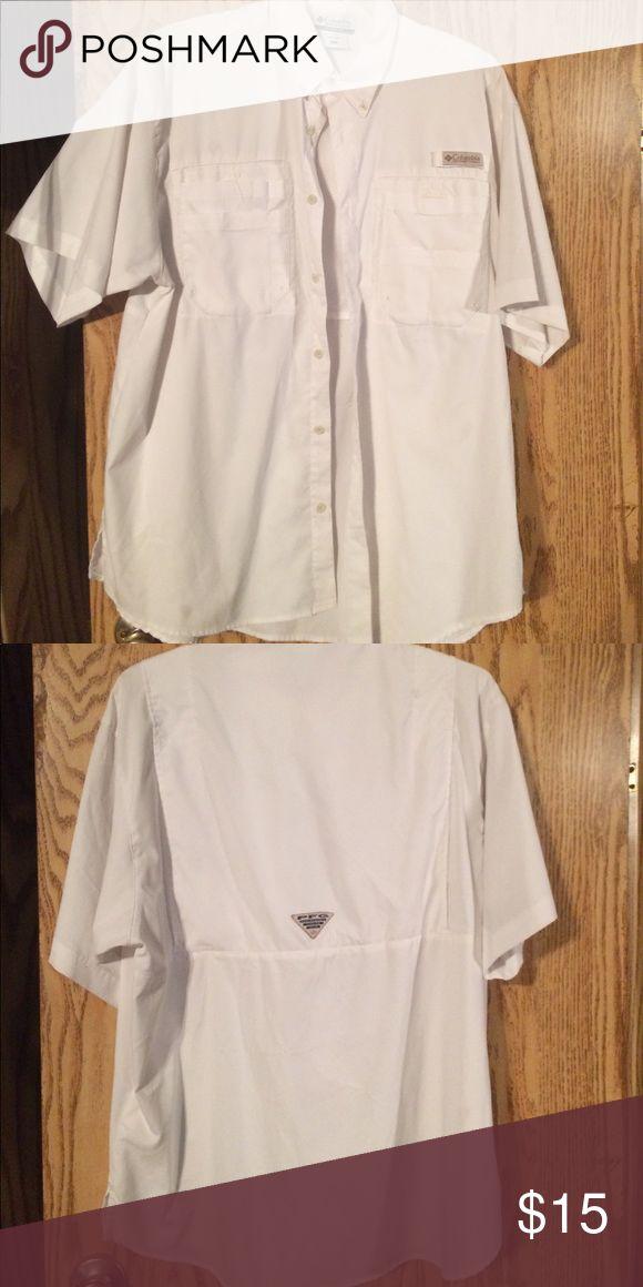 While quick dry Columbia fishing shirt White Columbia fishing shirt Columbia Shirts Casual Button Down Shirts