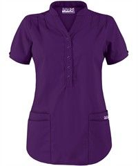 Butter-Soft Scrubs by UA™ Mandarin Collar 4-Pocket Top Style #  UAT278C $15.99 eggplant purple scrub top