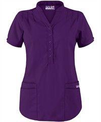 Butter-Soft Scrubs by UA™ Mandarin Collar 4-Pocket Top Style #  UAT278C $15.99 eggplant purple scrub top