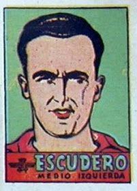 Escudero. Atlético de Madrid. 1941-42. Cromos Bruguera. Medio izquierda reserva.