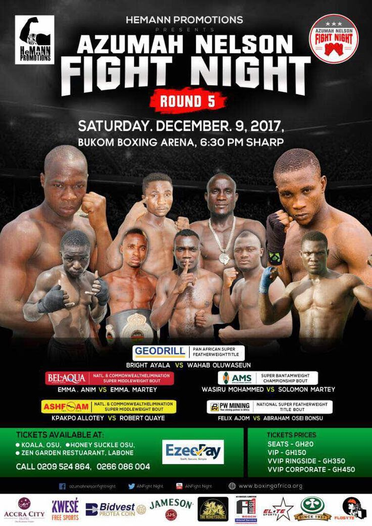 Azumah Nelson has selected formidable #Ghanian_fighters and they did well against the opponent from UK in the IV night and now everyone is even more excited about the next 5th round in the Azumah's fight night that will take place on December 9,2017 Saturday at #Bukom_Boxing_Arena presented by #Hemann_Promotions.Stay tuned to see who will turn out to be victorious . So do not miss the chance and book your tickets quickly before it's too late and you can get your seat very easily through…