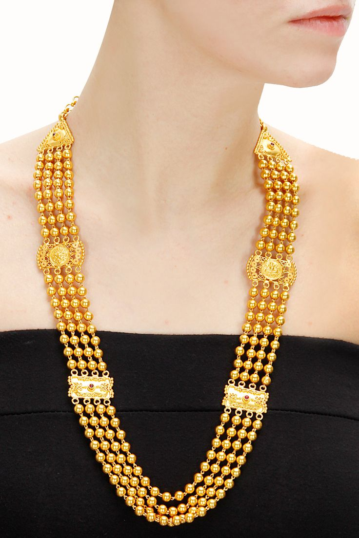 Gold plated beads rani haar necklace available only at Pernia's Pop-Up Shop. Gold plated silver $267
