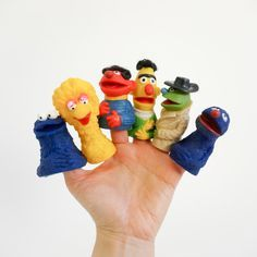 Vintage 1970s 80s Toy / Sesame Street Finger Puppets / Your Choice or All- Cookie Monster, Big Bird, Ernie, Bert, and RARE Lefty