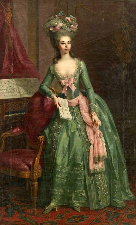 ▴ Artistic Accessories ▴ clothes, jewelry, hats in art - Johann Heinrich Tischbein the Elder | Juliane Fürstin zu Schaumburg-Lippe, 1781 (Madame de Pompadour)