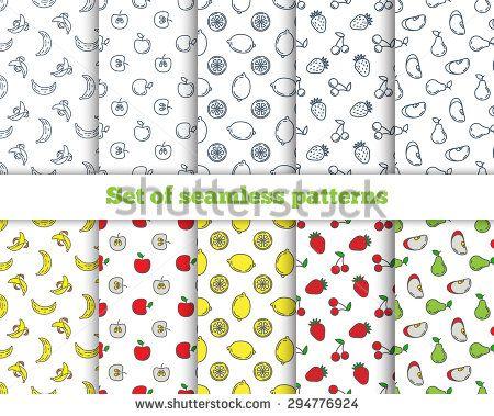 Set of seamless patterns line icons fruit. Banana, apple, strawberry, cherry, pear, avocado, mango, lemon, peach. Vector illustration - stock vector