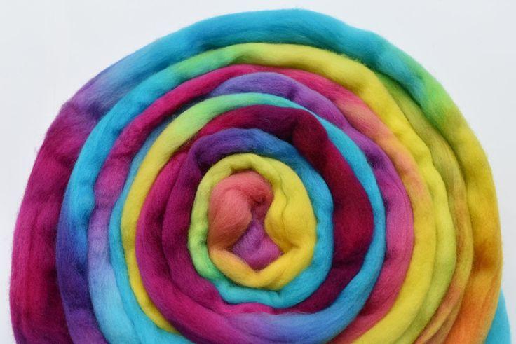 Wool Roving Australian Merino Wool Top Hand Painted Needle Felting Wool Spinning Fibre Weaving Fibre Art Fluro Multi 11747 by feltfibrecraft on Etsy