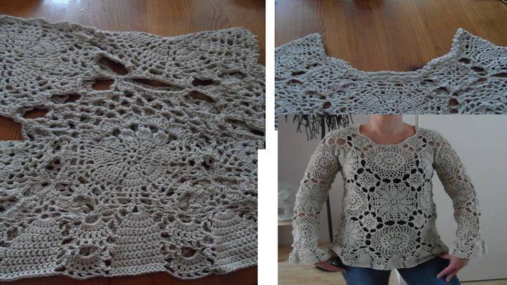 Haken witte kanten trui