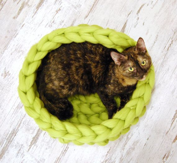 My cat on Etsy  https://www.etsy.com/listing/485485467/chunky-cat-bed-cat-cave-100-wool-cat