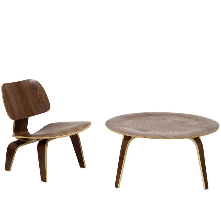Modway Molded Plywood Walnut (Brown) Coffee Table and Lounge Chair Set (Plywood Coffee Table and Lounge Chair in Walnut)