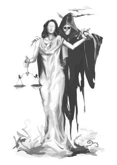 Lady Justice With Grim Reaper Tattoo Design