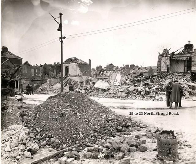 Photograph illustrating some of the damage caused by the German bombing of the North Strand, Dublin in 1941.  The photographs of the destruction caused by the North Strand Bombing in May 1941 were commissioned by Dublin Corporation as evidence for the assessment of insurance claims
