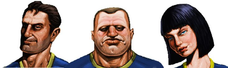 I colorized the portraits of preset characters from Fallout 1 for use on the fallout wiki site since there were no existing color versions. From left to right, Albert Cole, Max Stone, and Natalia D...