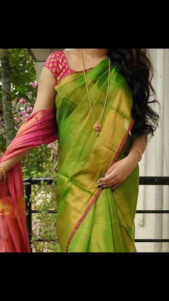 Excited to share the latest addition to my #etsy shop: Uppada Parrot Green Full tissue silk saree with Rani pink Pallu http://etsy.me/2FaeVBb
