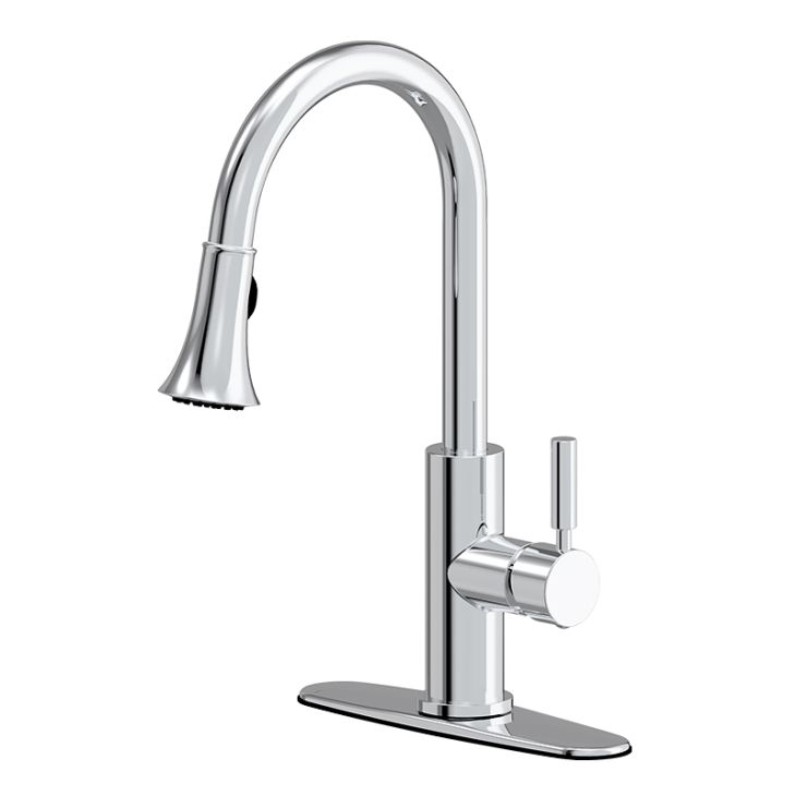 Commercial Style Brushed Chrome One-Handle Pull-Down Kitchen Faucets Parts