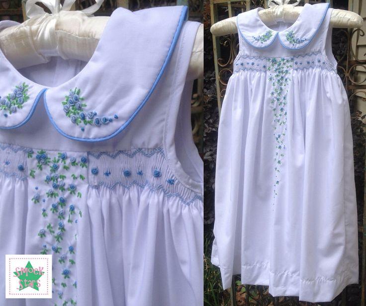 Smocked Easter Dress, White Easter Dress, Smocked Girls Dress by SmockStar on Etsy https://www.etsy.com/listing/279844272/smocked-easter-dress-white-easter-dress