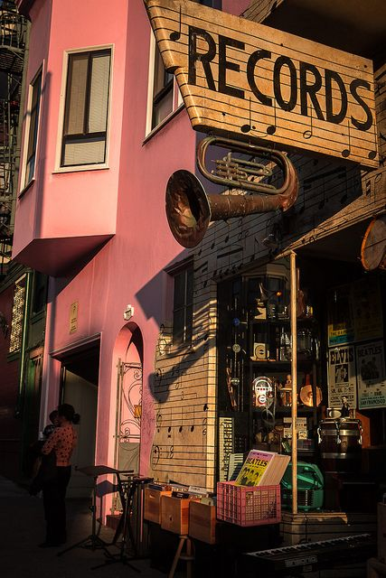 VIntage Record Store by tommacgregor, via Flickr beautiful vintage pink and flea market deco perfect