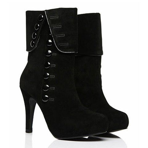 Black Elegant Women's Short Boots With Button and Heel Design