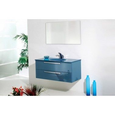 "Blue glass vanity with 1 or 2 drawers available. Standard sizes are: 24"", 28"" & 36"", but any custom size is available. It can be ordered in 3 different surfaces: Colored glass, Marble or Acrylic. 7 glass colors available are: White, Red, Black, Coffee, Blue, Green and Light glass. All vanity drawers are lined in a champagne leather with GRASS soft close technology. All vanities are completely waterproof"