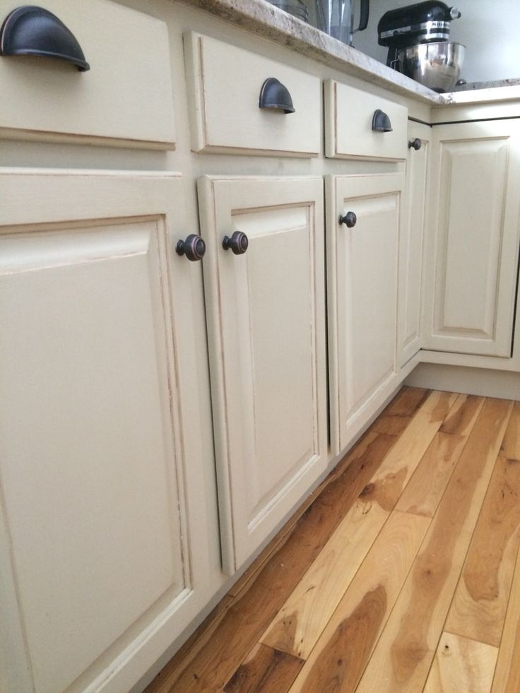Annie Sloan chalk paint on kitchen cabinets. Country grey.                                                                                                                                                                                 More