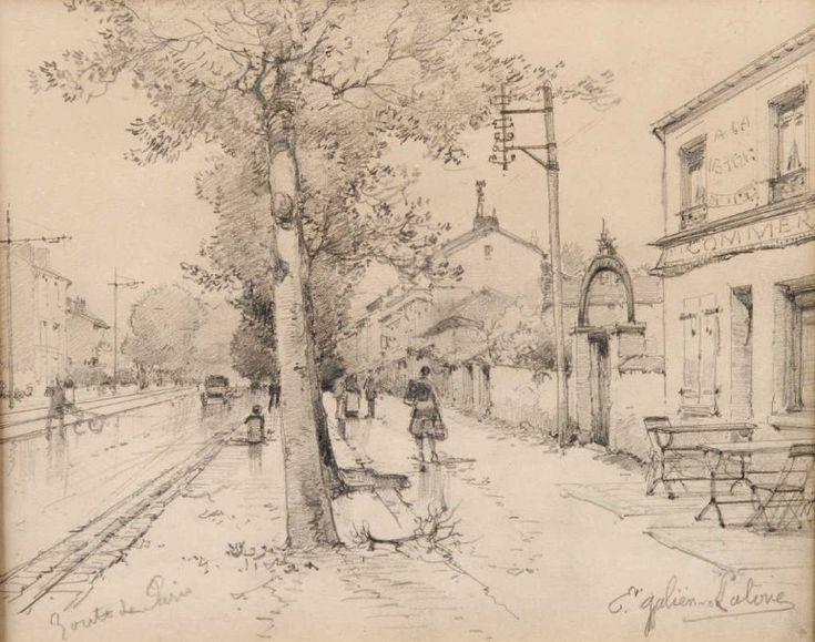 """Eugène GALIEN-LALOUE (1854-1941) """"La route"""" Crayon et fusain signé en bas à droite Haut. - Larg. - Bernard d'Anjou Enchères - 13/12/2015"""