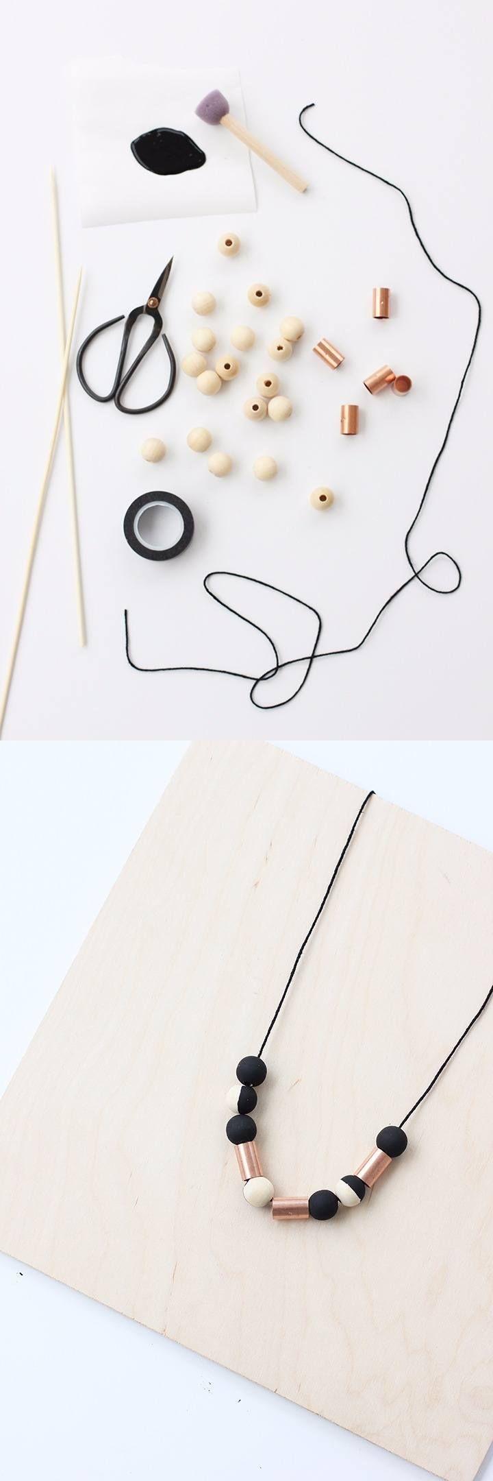 Collar con piezas de cobre y madera - aliceandlois.com - DIY Copper and Wood Bead Necklace
