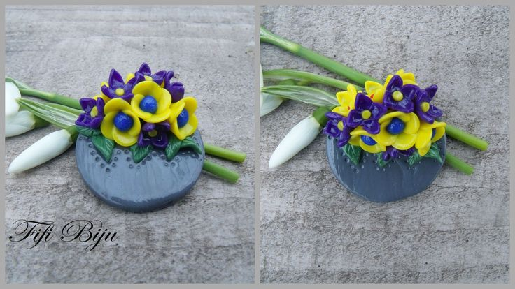 Fimo brooch with yellow and blue flowers