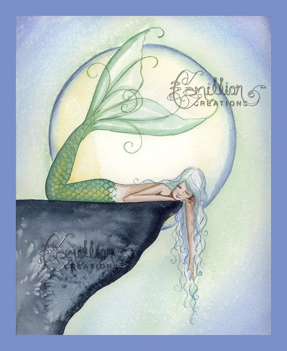 Sleeping Mermaid by Moon  from Original Watercolor Painting by Camille Grimshaw on Etsy, $8.00