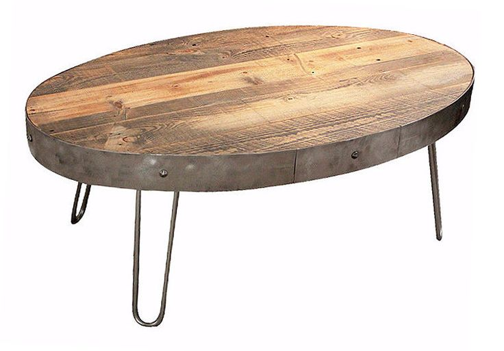 Reclaimed Wood Oval Coffee Table / With Drawer - Free Shipping