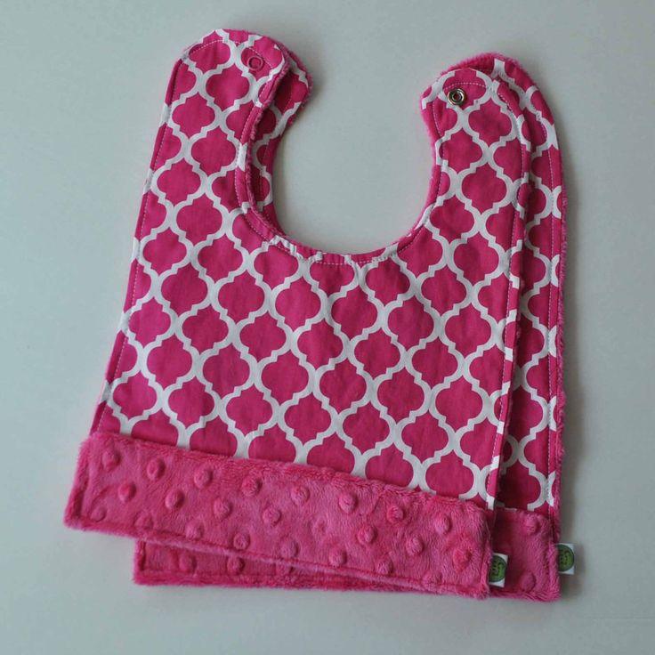 Moroccan Quatrefoil Snap Baby Bib 2 Pack Pink