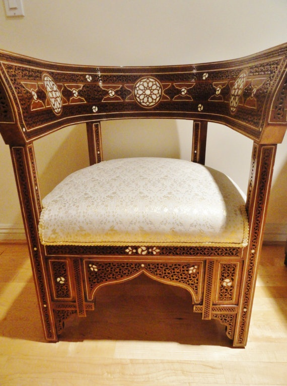 Moroccan Style Syrian One Of A Kind Chairs: Walnut Wood With Mother Of  Pearl And