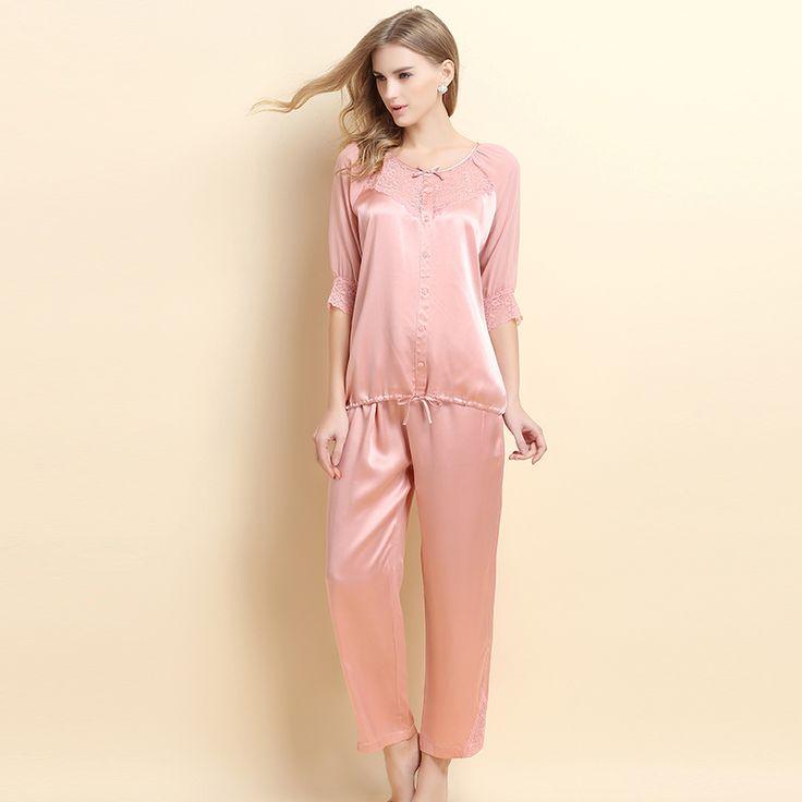 Yong Fei 2015 spring new female short-sleeved silk pajamas silk two-piece pajama suit tracksuit top grade USD$147.00