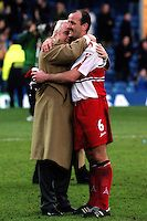 Wycombe Chairman, Ivor Beeks, celebrates their 2-1 victory with Jamie Bates at the final whistle during Leicester City vs Wycombe Wanderers, FA Cup Football at Filbert Street on 10th March 2001
