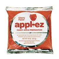 Apple-EZ #4144, 15oz.  Cherry Red Candy Apple Mix.  #4143, Blue Raspberry, #4142 Grape. $3.08/ea or $36.96/case of 15.  From Popcorn Supply