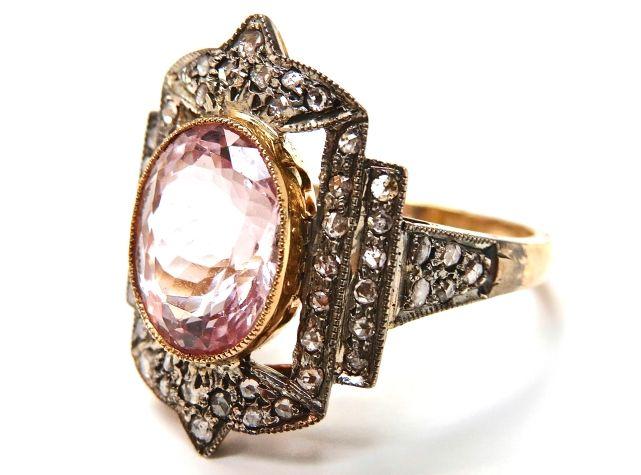 Art Deco Inspired Morganite and Diamond Ring  #morganite #love #pink