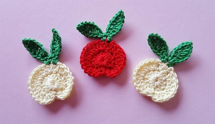 Lot de 3 appliques pommes au crochet : Autres pièces pour créations par atelier-crochet