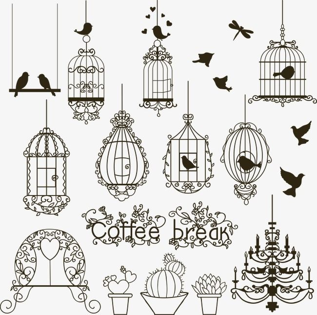 Small Potted Plants And A Variety Of Hand Painted Cage Hand Painted Vector Birdcage Png Transparent Clipart Image And Psd File For Free Download Vintage Birds Doodle Drawings Bird Doodle