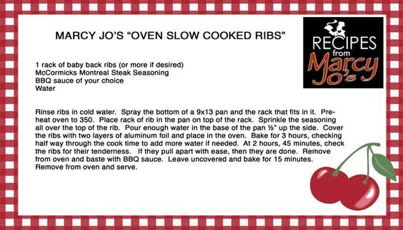 Slow Cooked Ribs: