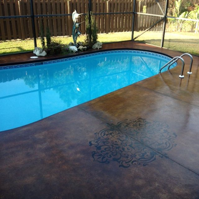 Swimming Pool Stains : Acid stain pool deck with accent design pinterest