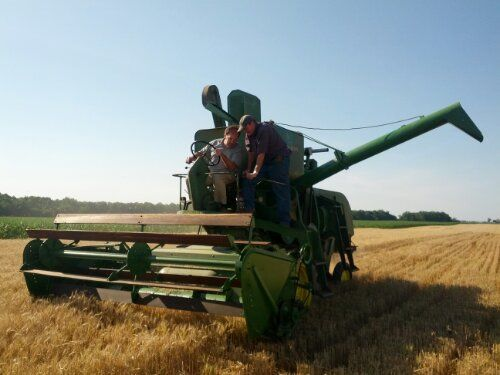 John Deere 45 combine.Thats John Lindsey in the combine seat 55 Years of Agricultural Evolution - The Farmer's Life