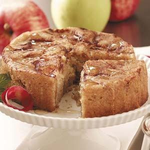 """Cinnamon-Apple Honey Cake Recipe -""""We're not keen on desserts, but I wanted to make my husband a small cake for his birthday,"""" says Rebecca Zeissler of Forest Park, Illinois. """"So i created this recipe for the occasion, and the cake came out moist, elegant and delicious."""""""