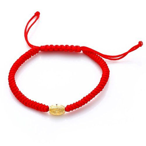 Honeystore Girl's Gold Plated Red String Bracelet Color Yellow Red