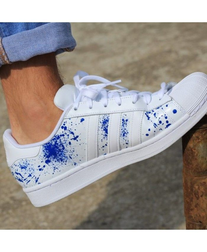 Womens Adidas Adicolor Trainers Painted White Blue Adidas New Shoes | Sale Price