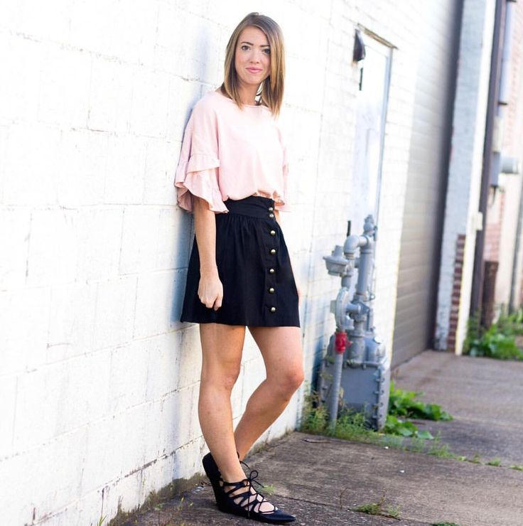 Black button down skirt with gold buttons and a pink Zara tshirt for a casual weekend look. #zara #zaraclothing #lookforless #cheapfashion #clothingforless #fallfashionforless #clothingonabudget #onabudget