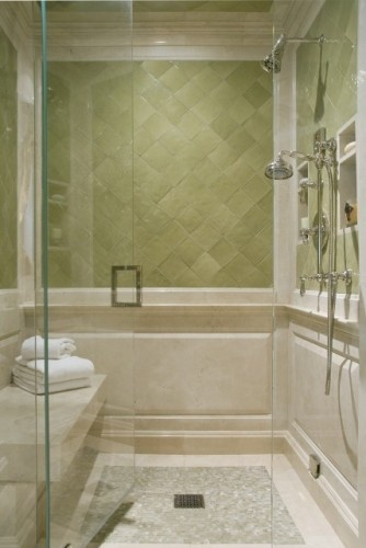 "The field green tile is the ""avignon"" series from walker zanger. It is a ceramic hand glazed tile. the colour is ""olivier"". The mosaic tile is ""green onyx""."
