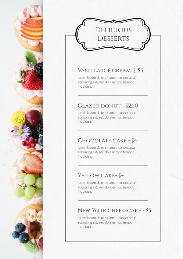 Delicious Desserts Menu Card Template Food Menu Template Desserts Menu Bakery Menu